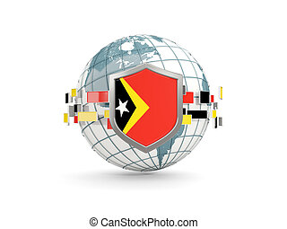 Globe and shield with flag of east timor isolated on white