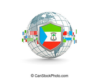 Globe and shield with flag of equatorial guinea isolated on white