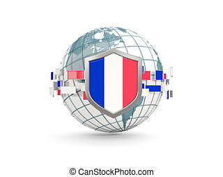 Globe and shield with flag of france isolated on white