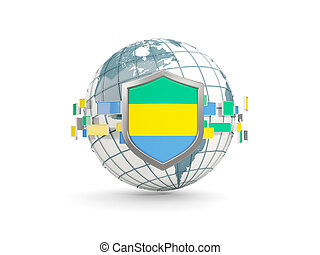 Globe and shield with flag of gabon isolated on white