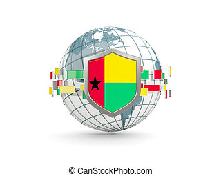 Globe and shield with flag of guinea bissau isolated on white