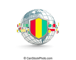 Globe and shield with flag of guinea isolated on white