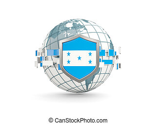 Globe and shield with flag of honduras isolated on white