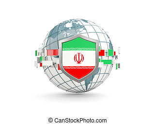 Globe and shield with flag of iran isolated on white