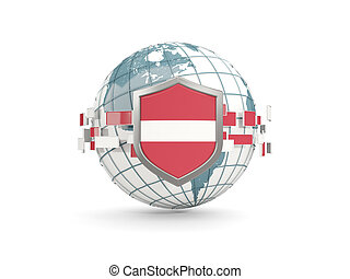 Globe and shield with flag of latvia isolated on white