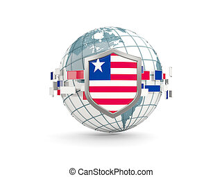 Globe and shield with flag of liberia isolated on white