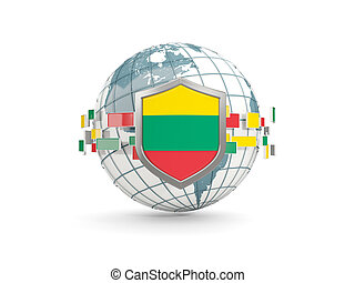 Globe and shield with flag of lithuania isolated on white