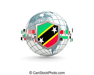 Globe and shield with flag of saint kitts and nevis isolated on white