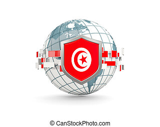 Globe and shield with flag of tunisia isolated on white