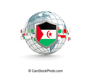 Globe and shield with flag of western sahara isolated on white