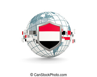 Globe and shield with flag of yemen isolated on white