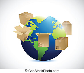 globe and shipping boxes around. illustration