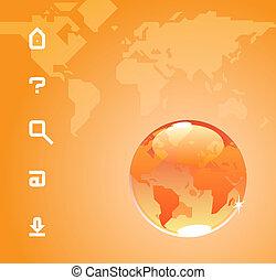 Globe and website icons on orange background of World map