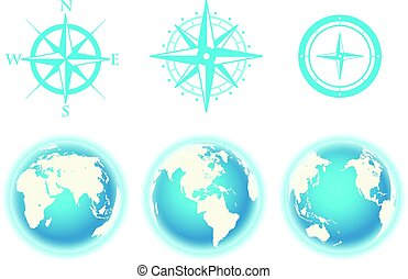 Globe and wind rose scheme vector color collection