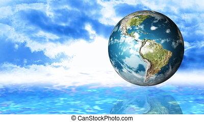 globe, animation, ciel, rotation, contre