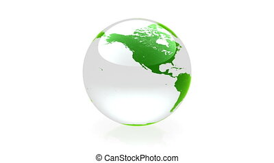 Globe animation green - Glass globe animation