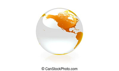 Globe animation orange - Glass globe animation