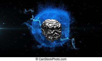 globe, animation, tourner, bleu, humain, incandescent, métallique, sur, fond, noir, cerveau, 3d
