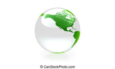 globe, animation, vert