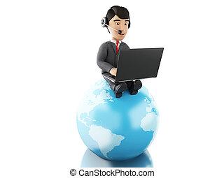 globe., arbeitende , laptop, kopfhörer, geschäftsmann, erde, 3d