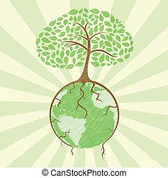 globe, arbre