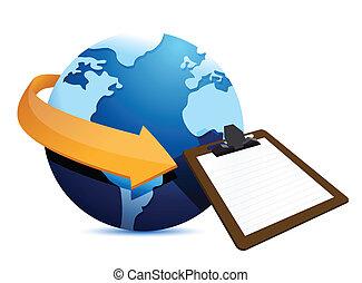 globe arrow and clipboard