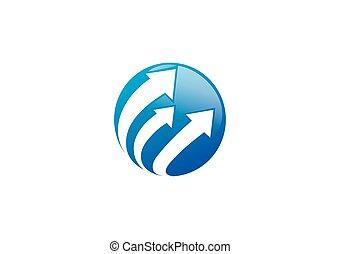globe arrow business finance vector logo