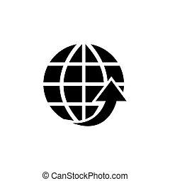 Globe Arrow, Environmental Protection Flat Vector Icon