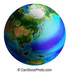 Globe, asia - raster image of earth from asia side