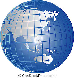 globe, asie, australie