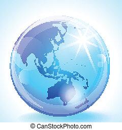 globe, asie, pacifique