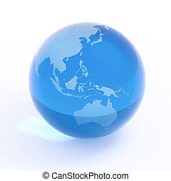globe, -, asie, planète, australie, la terre