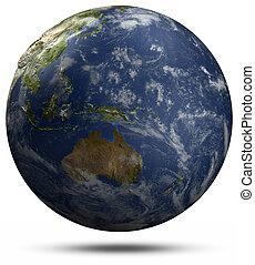 globe australie, -, océan pacifique, la terre