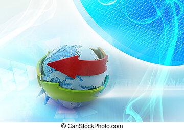 globe, autour de, flèche