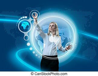 globe, avenir, séduisant, naviguer, interface, blond