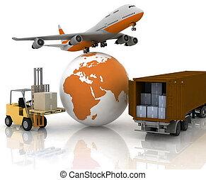 globe, avion ligne, autoload