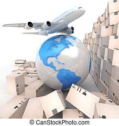 globe, avion ligne, boîtes