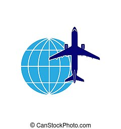 globe., avion ligne, thème, aviation., fond, logo