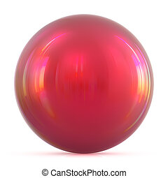 Globe ball sphere red round button, basic circle solid figure