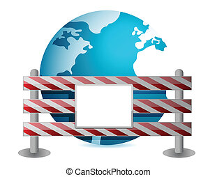 Globe behind a road barrier illustration design