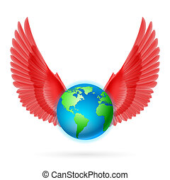 globe, blanc rouge, ailes