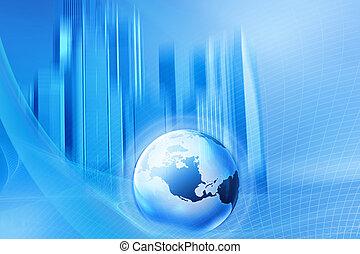 globe, blauwe