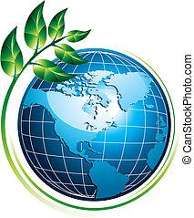 globe bleu, à, plante
