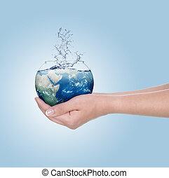 globe bleu, contre, main, sk, humain