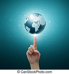 globe bleu, femmes, bout doigt