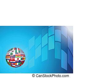 globe bleu, fond, mondiale, technologie, résumé