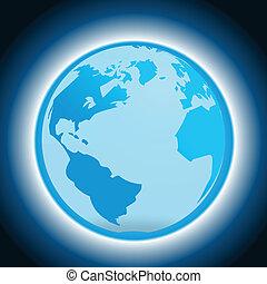 globe bleu, fond, sombre