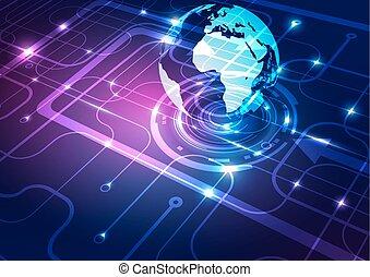 globe bleu, technologie, résumé, fond