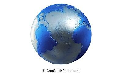 globe bleu, terre planète, blanc, boucle