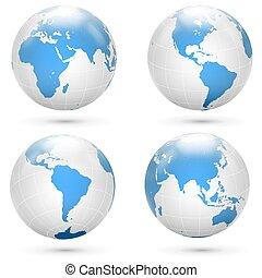 globe bleu, vecteur, la terre, blanc, set., icône
